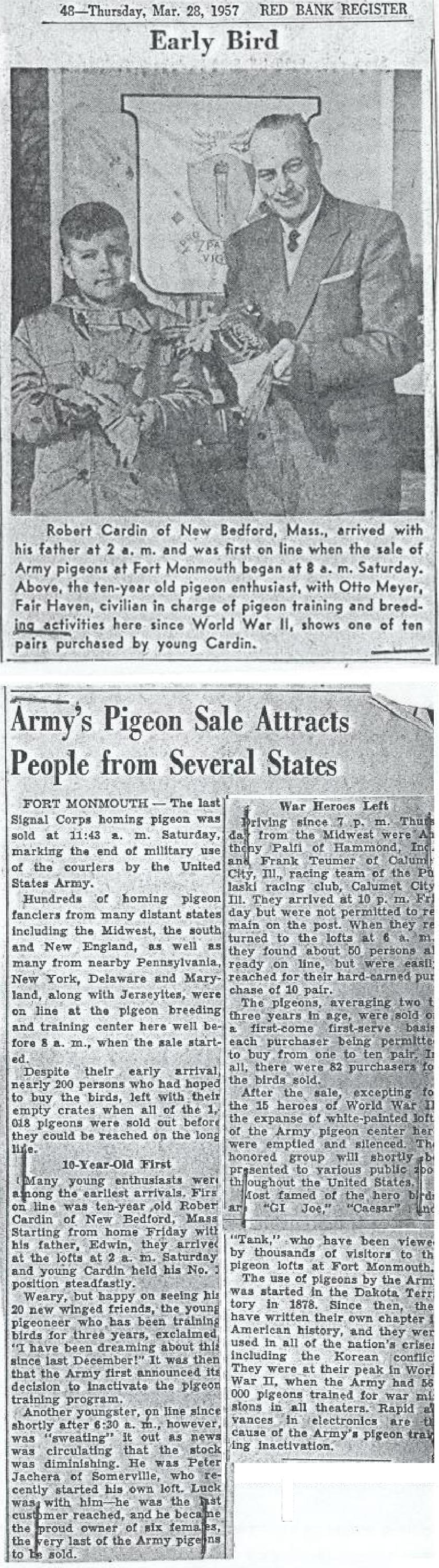 Early bird sale of Fort Monmouth Army Pigeons with photo of Otto Meyer